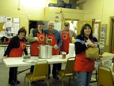 Members selling clam chowder this Friday as a fund raiser